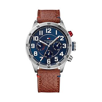 Tommy Hilfiger Men's Blue Dial Brown Leather Strap Watch - Product number 2329077