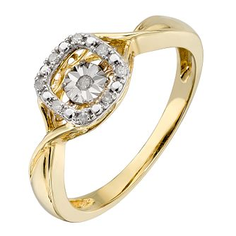 Diamonds In Rhythm 9ct Yellow Gold Square Diamond Ring - Product number 2330105