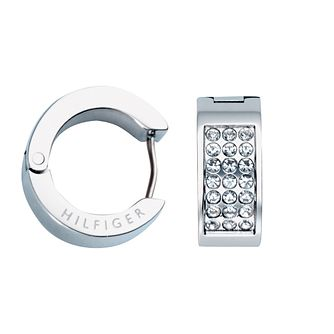 Tommy Hilfiger Ladies' Swarovski Pave Huggie Earrings - Product number 2331136