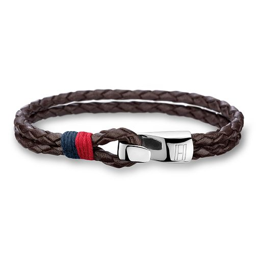 Tommy Hilfiger Men's Double Row Brown Leather Bracelet - Product number 2331357