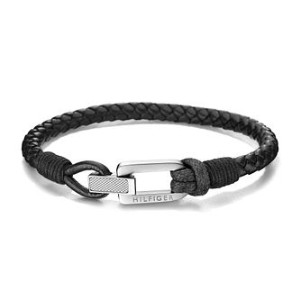 Tommy Hilfiger Men's Black Leather Braid Bracelet - Product number 2331365