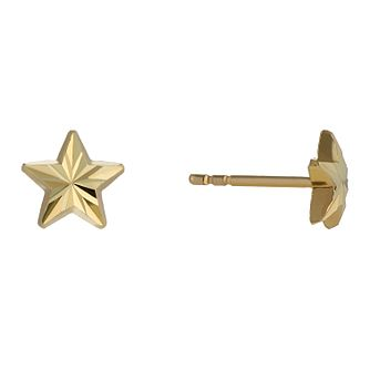 9ct Yellow Gold Diamond Cut Star Stud Earrings - Product number 2336839