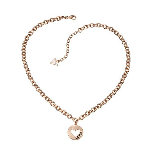Guess Rose Gold Plated Cut Out Heart Coin Necklace
