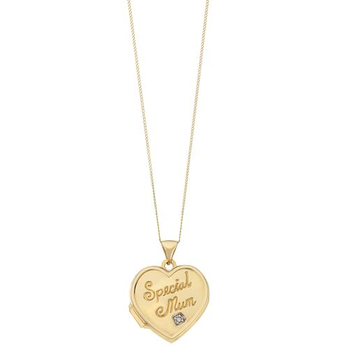 9ct Yellow Gold & Diamond Special Mum Heart Locket - Product number 2337061