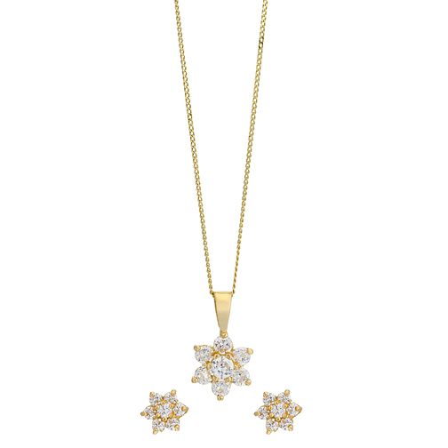 9ct Yellow Gold Cubic Zirconia Flower Earring & Pendant Set - Product number 2337142
