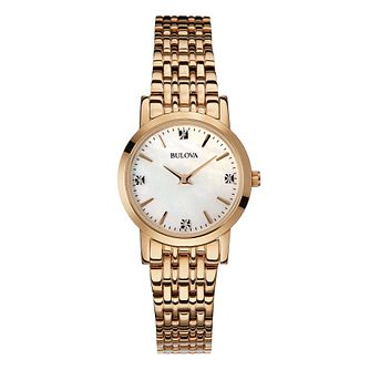 Bulova Ladies' Gold Plated Diamond Mother Of Pearl Watch - Product number 2337282