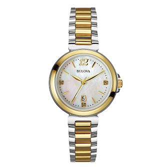 Bulova Ladies' Two Tone Diamond Mother Of Pearl Watch - Product number 2337339