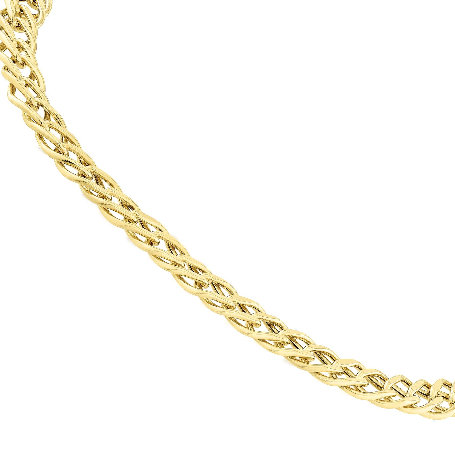 9ct Yellow Gold Double Oval Chain Bracelet 7.25