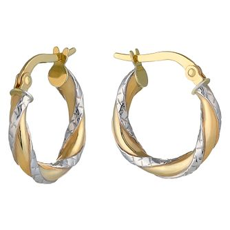 9ct Two Colour Gold Diamond Cut Twist Creole Earrings - Product number 2338688
