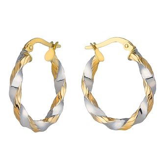 9ct Two Colour Gold Twist Creole Earrings - Product number 2338718