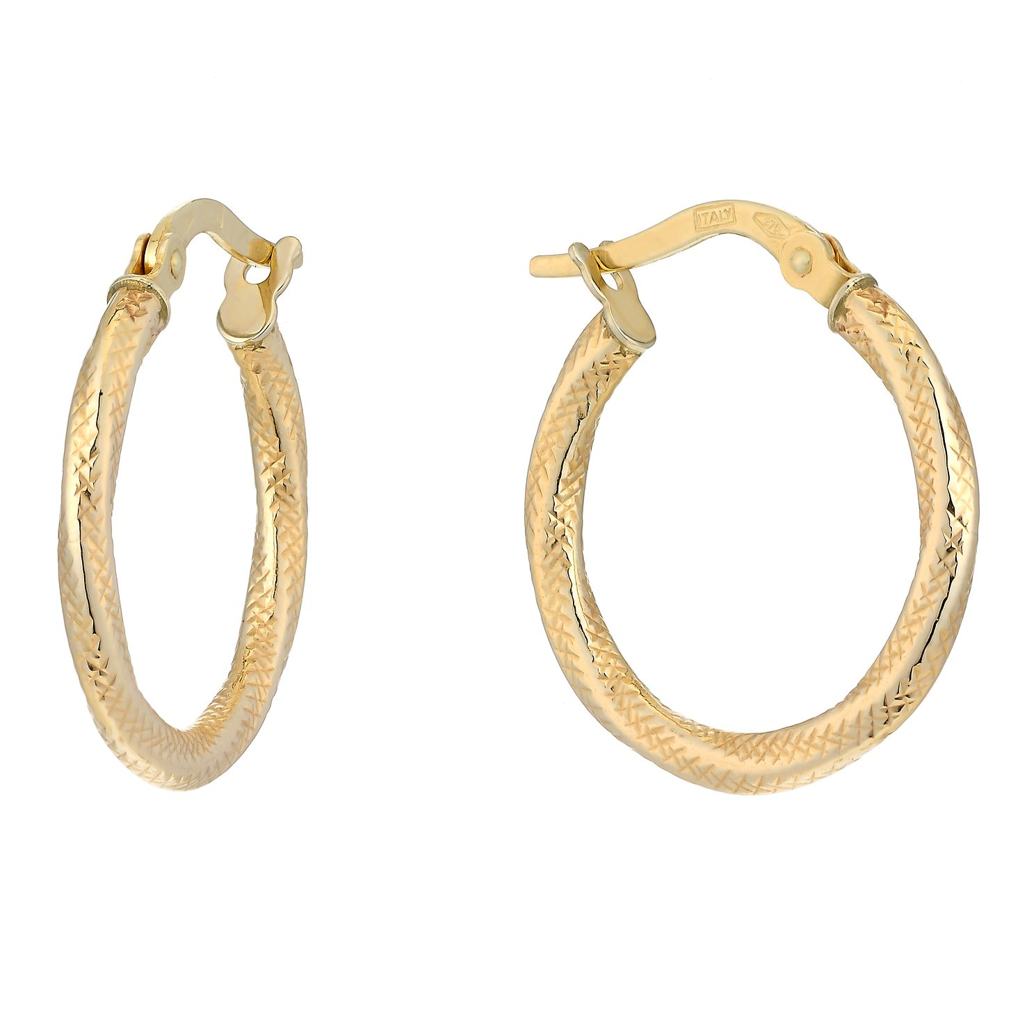 9ct Yellow Gold Fancy Groove 15mm Hoop Earrings - Product number 2338823
