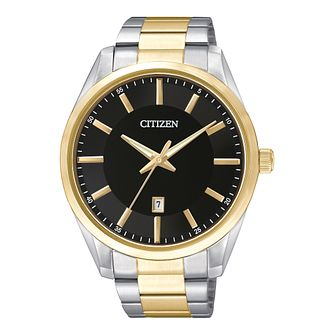 Citizen Quartz Men's Black Dial Two Tone Bracelet Watch - Product number 2341573