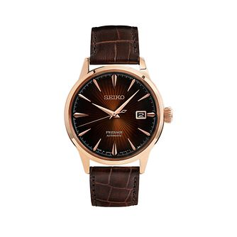 Seiko Presage Cocktail Time Men's Brown Leather Strap Watch - Product number 2346621