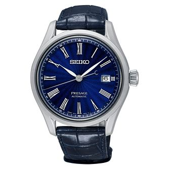 Seiko Presage Men's Blue Crocodile Strap Watch - Product number 2346680