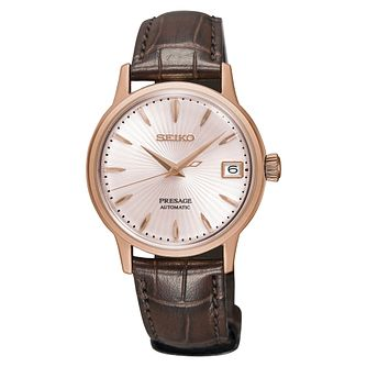 Seiko Presage Cocktail Time Ladies' Leather Strap Watch - Product number 2346737