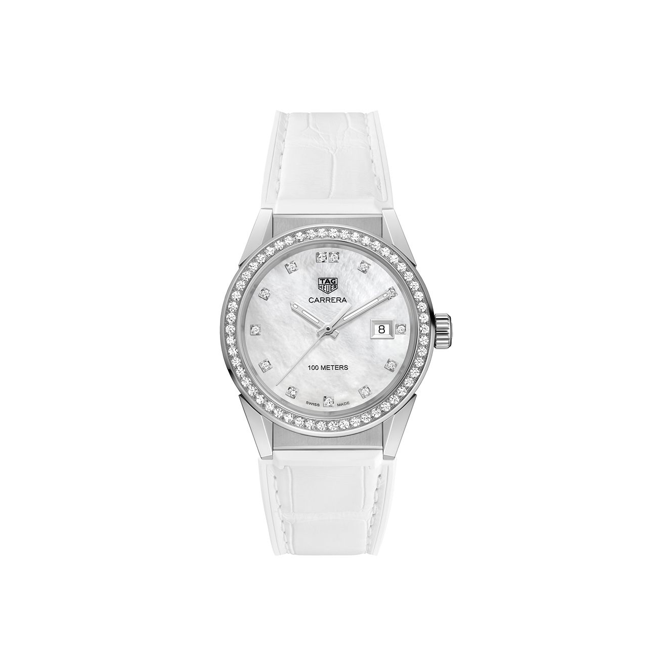 TAG Heuer Carrera Ladies' White Leather Strap Watch - Product number 2346796
