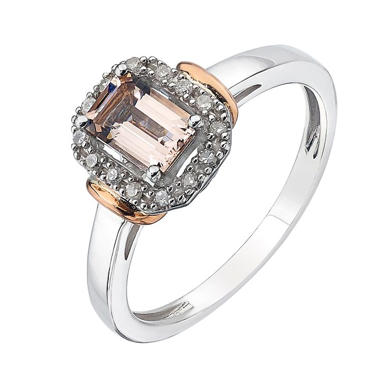 Sterling Silver & 9ct Rose Gold & Treated Morganite Ring