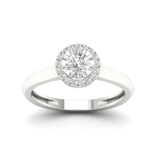 9ct White Gold 1/3ct Diamond Round Halo Ring - Product number 2353148