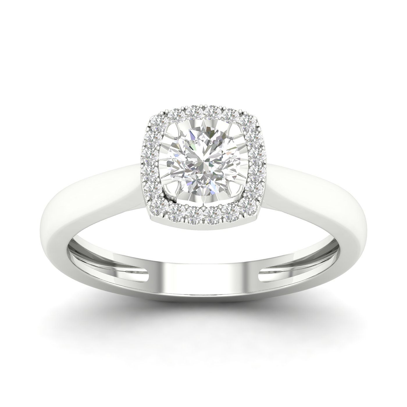 9ct White Gold 1/3ct Diamond Cushion Halo Ring - Product number 2353288