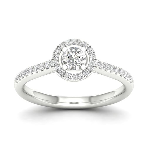 18ct White Gold 0.40ct Diamond Halo Ring - Product number 2353970
