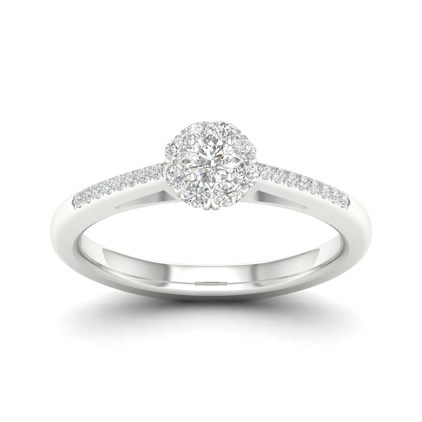 9ct White Gold 1/3ct Diamond Flower Halo Ring - Product number 2354217