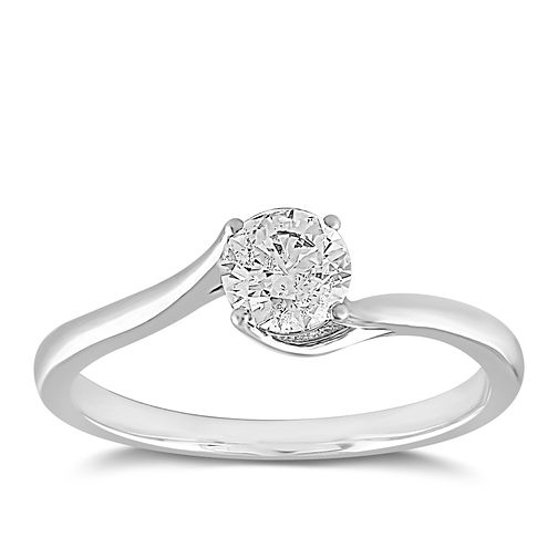 18ct White Gold 1/2ct Claw Set Solitaire Diamond Ring - Product number 2355647