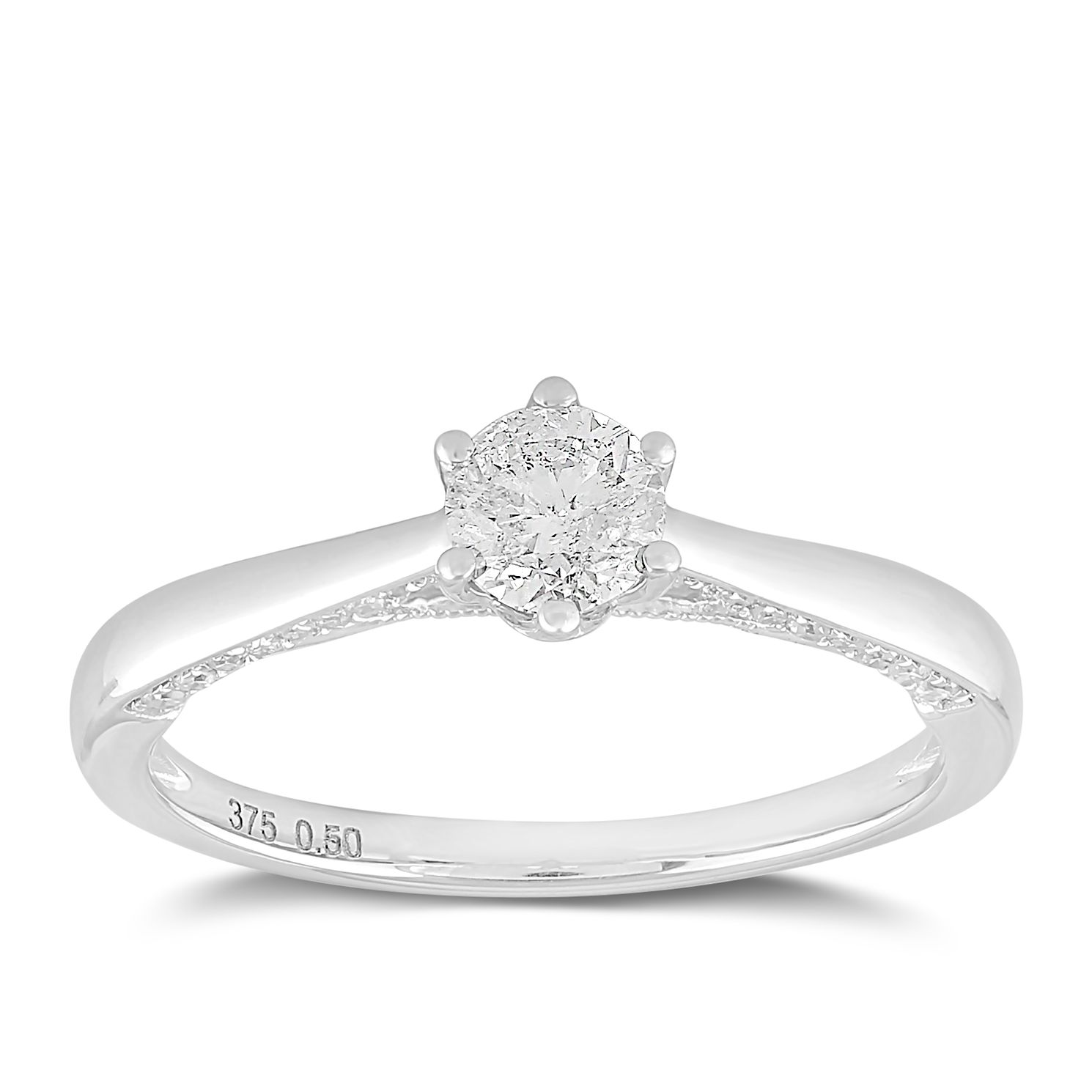 9ct White Gold 1/2ct Claw Set Solitaire Diamond Ring - Product number 2355787