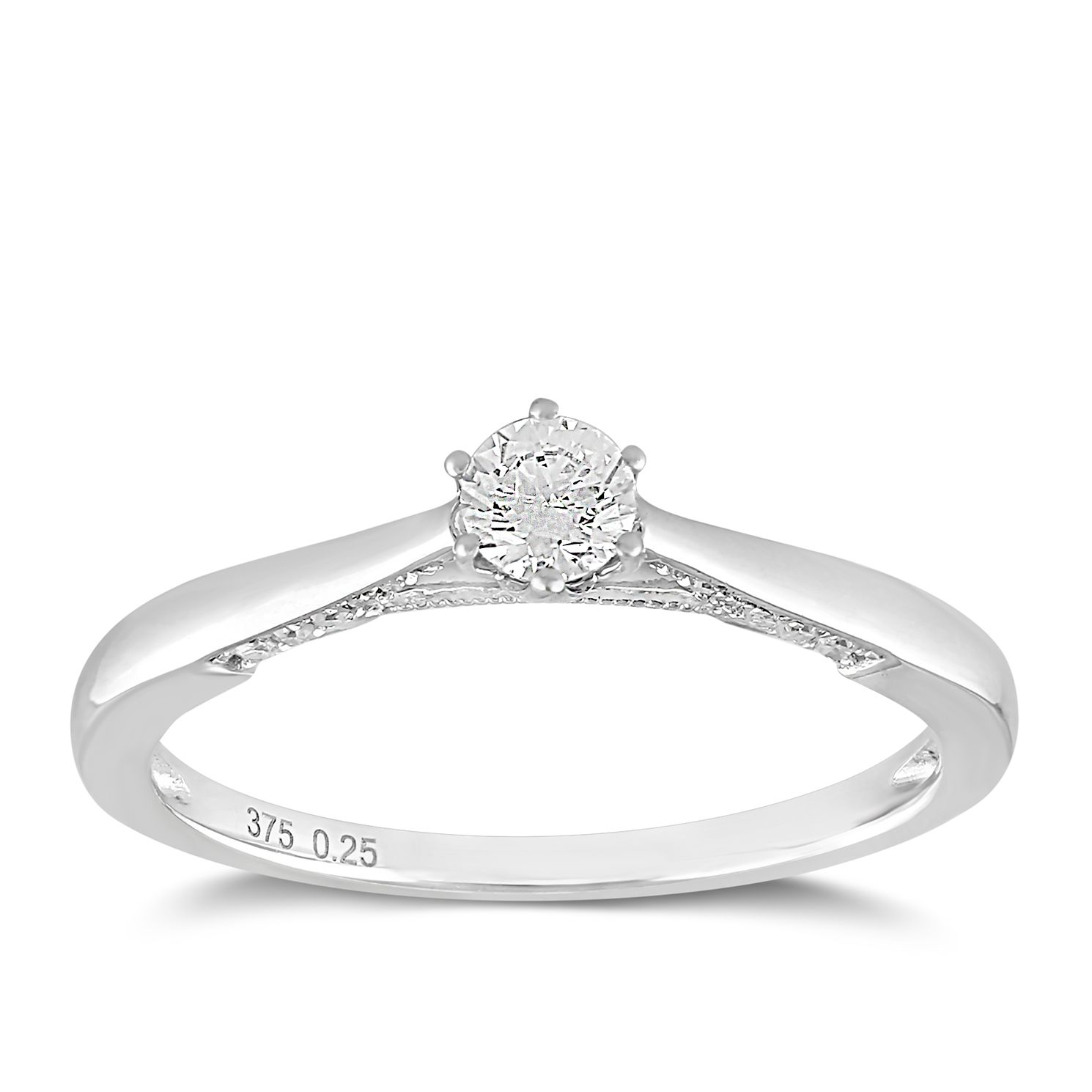 9ct White Gold 0.25ct Total Diamond Claw Set Solitaire Ring - Product number 2355914