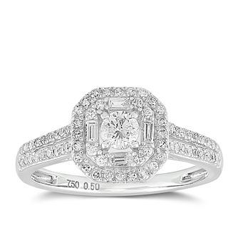 18ct White Gold 1/2ct Diamond Cushion Halo Ring - Product number 2356244