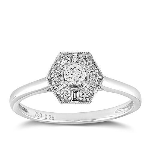 18ct White Gold 1/4ct Diamond Hexagon Halo Ring - Product number 2356392