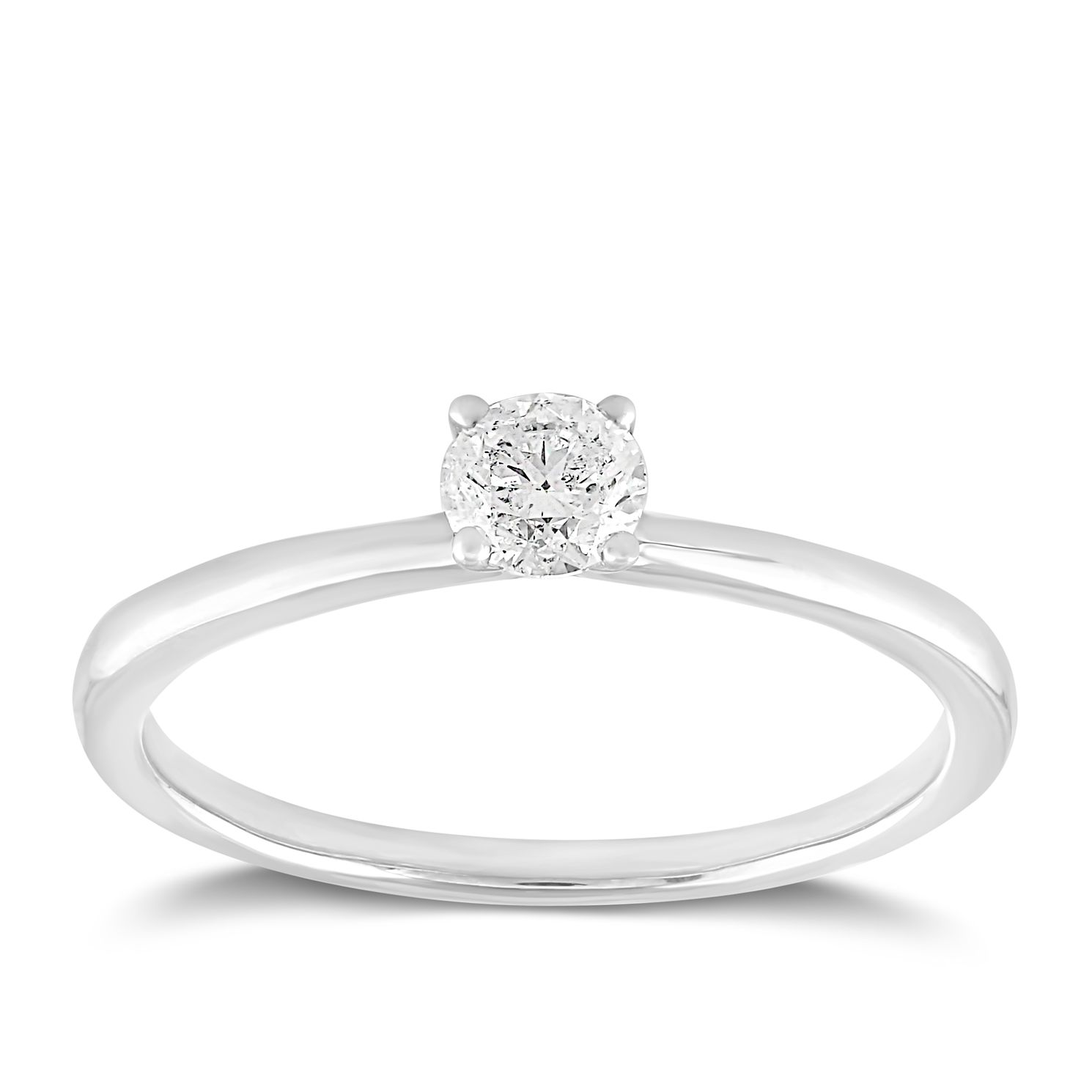 18ct White Gold 1/4ct Claw Set Solitaire Diamond Ring - Product number 2356554