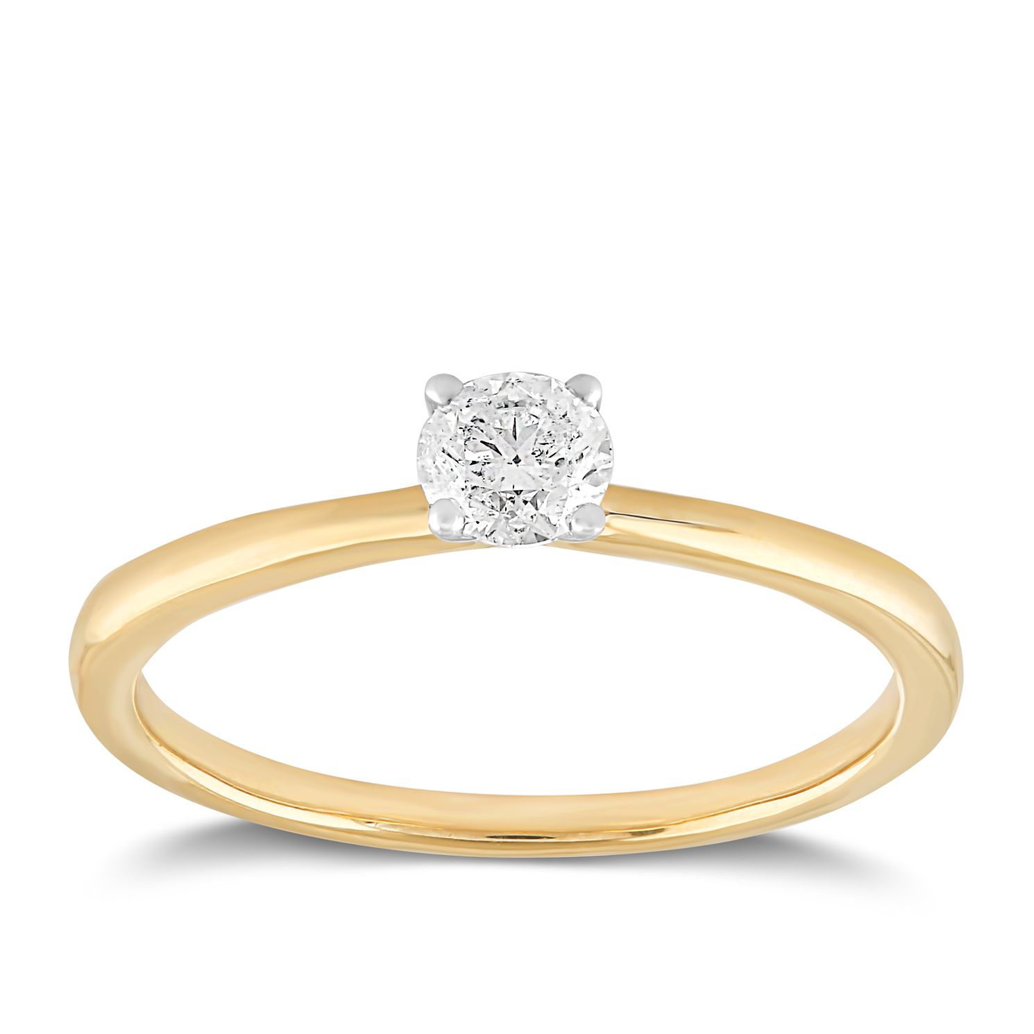18ct Yellow Gold 1/4ct Claw Set Solitaire Diamond Ring - Product number 2356686