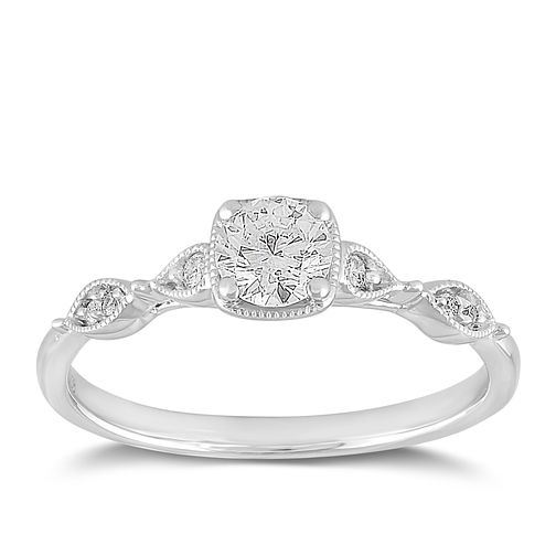 9ct White Gold 0.38ct Diamond Marquise Shoulder Ring - Product number 2357097