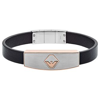 Emporio Armani Men's Two Tone & Black Leather Bracelet - Product number 2358360