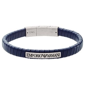 Emporio Armani Men's Stainless Steel & Blue Leather Bracelet - Product number 2358387