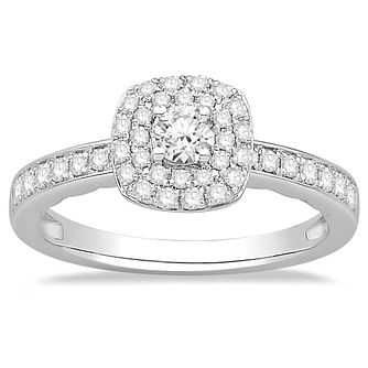 9ct White Gold 1/2ct Diamond Cushion Halo Ring - Product number 2358476