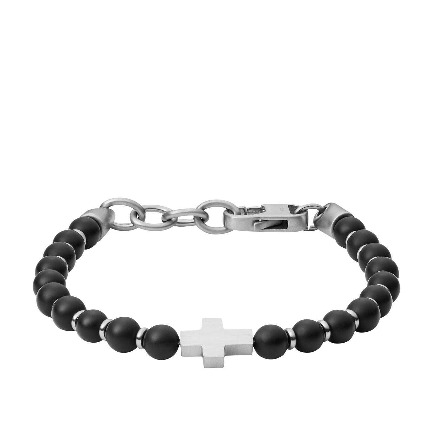 Fossil Stainless Steel Black Agate Beaded Bracelet - Product number 2358557