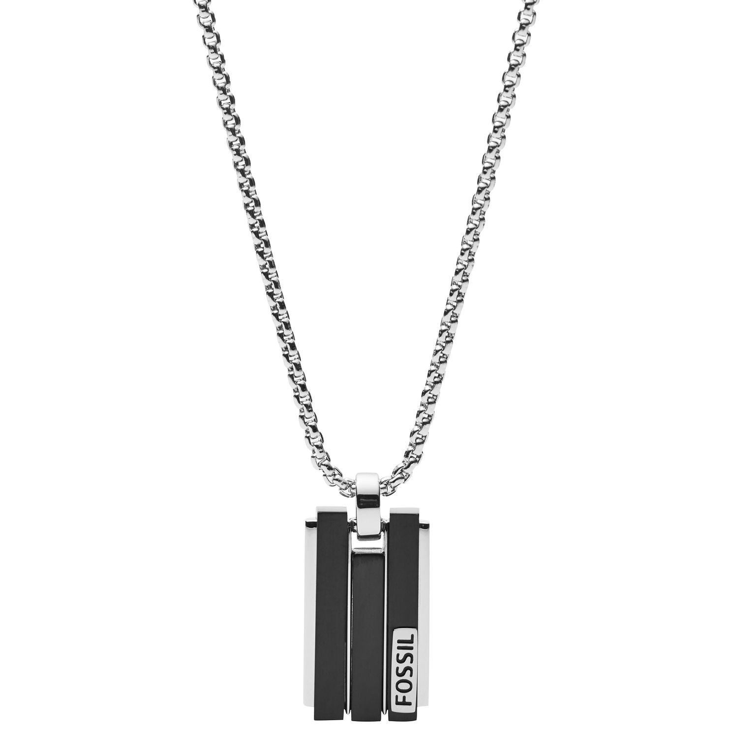 Fossil Men's Stainless Steel Black Dog Tag Necklace - Product number 2358573