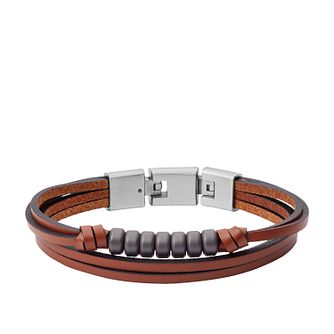 Fossil Men's Brown Leather Haematite Multi-Strand Bracelet - Product number 2358581
