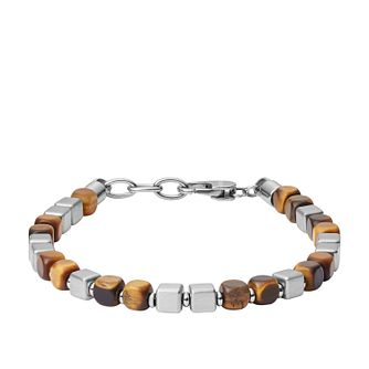 Fossil Stainless Steel Square Tiger's Eye Beaded Bracelet - Product number 2358603