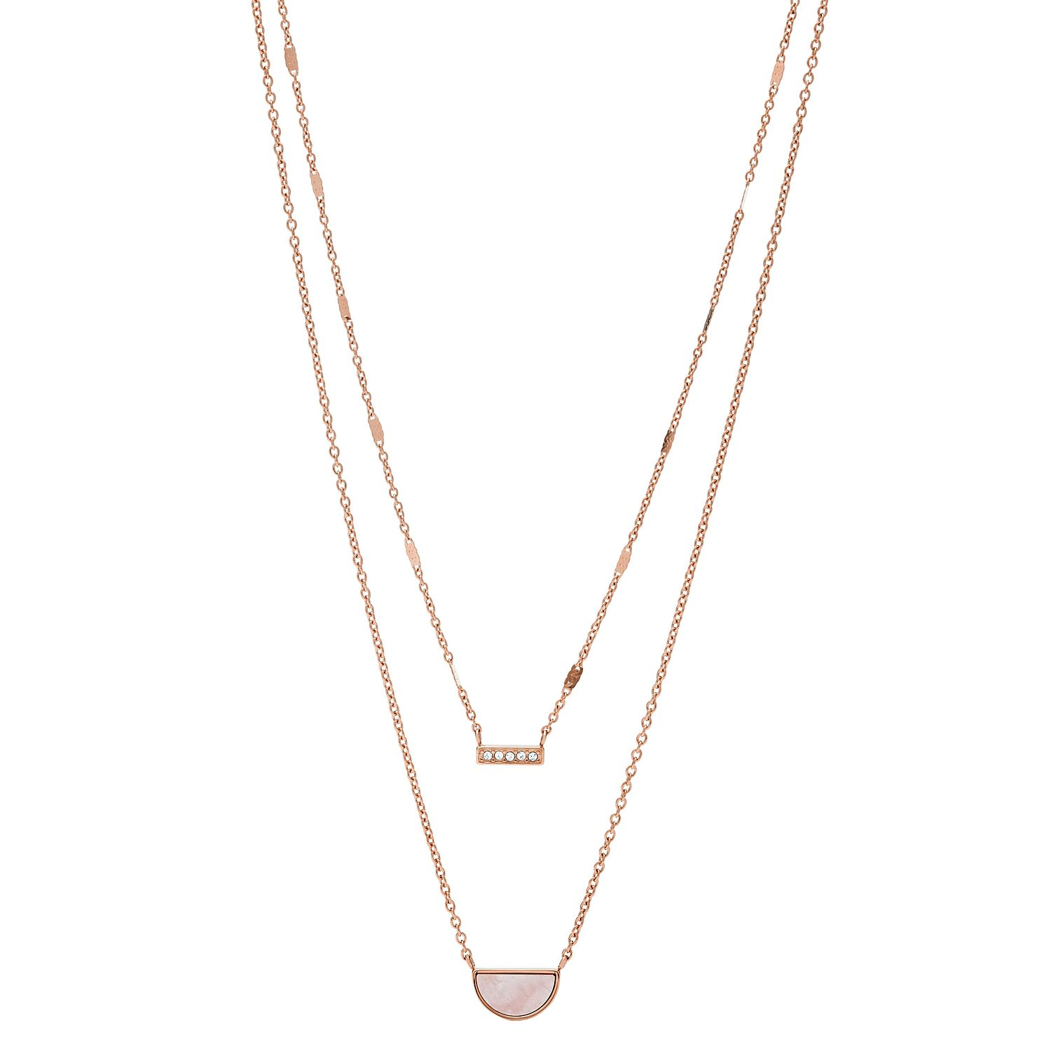 Fossil Rose Gold Tone Cubic Zirconia Duo Half Moon Necklace - Product number 2358638