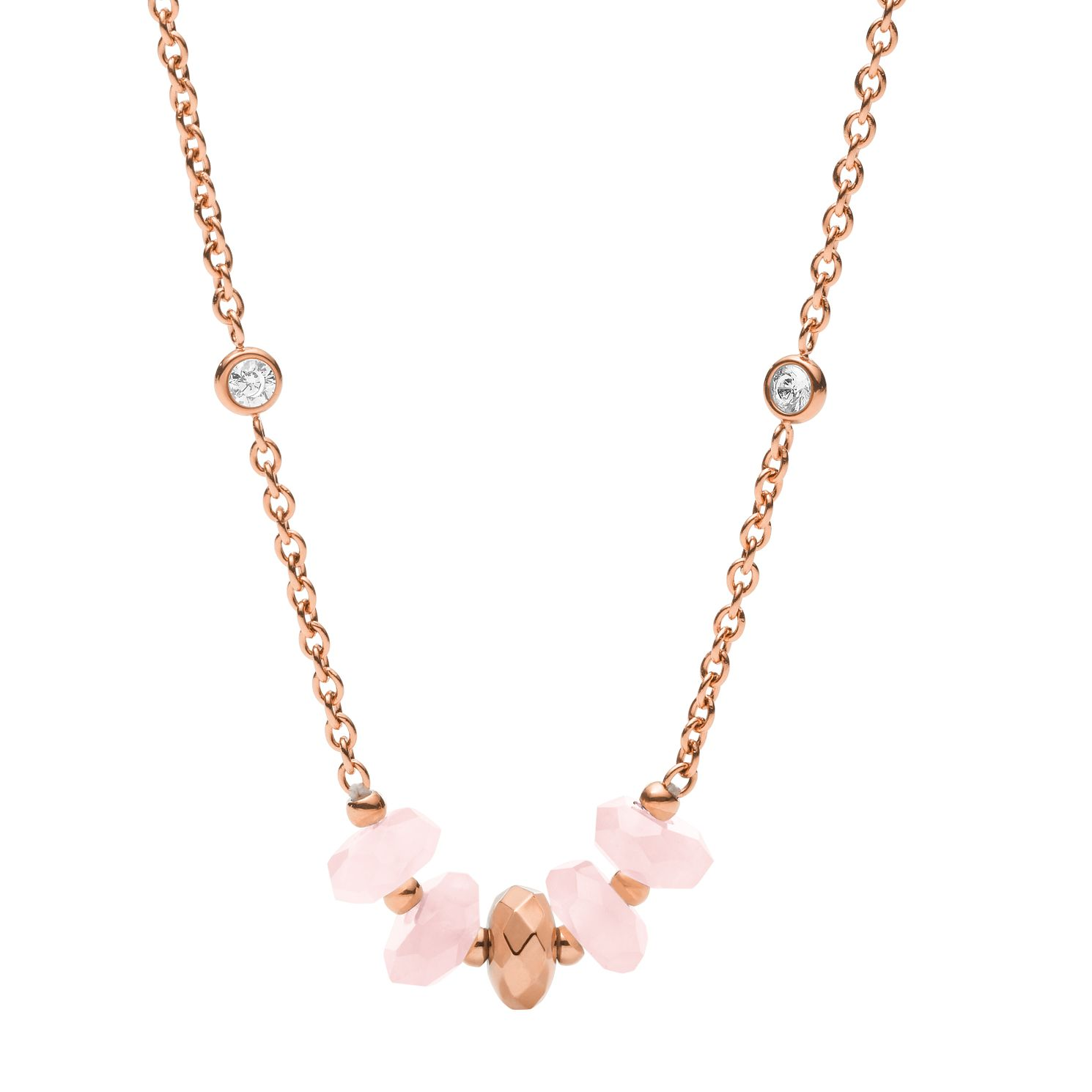Fossil Classics Rose Gold Tone Rose Quartz Necklace - Product number 2358646