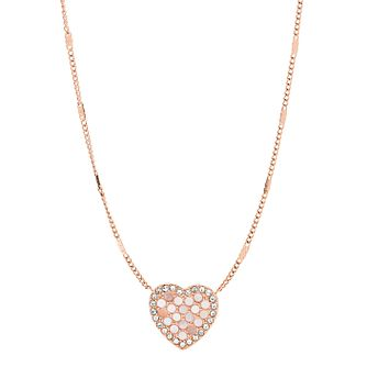 Fossil Rose Gold Tone Cubic Zirconia Glitz Heart Necklace - Product number 2358662