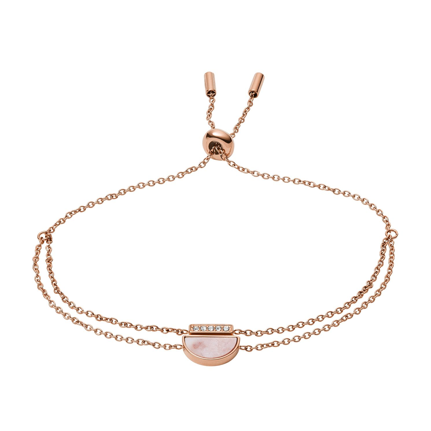 Fossil Rose Gold Tone Cubic Zirconia Duo Half Moon Bracelet - Product number 2358689