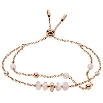 Fossil Classics Duo Rose Gold Tone Rose Quartz Bead Bracelet - Product number 2358735