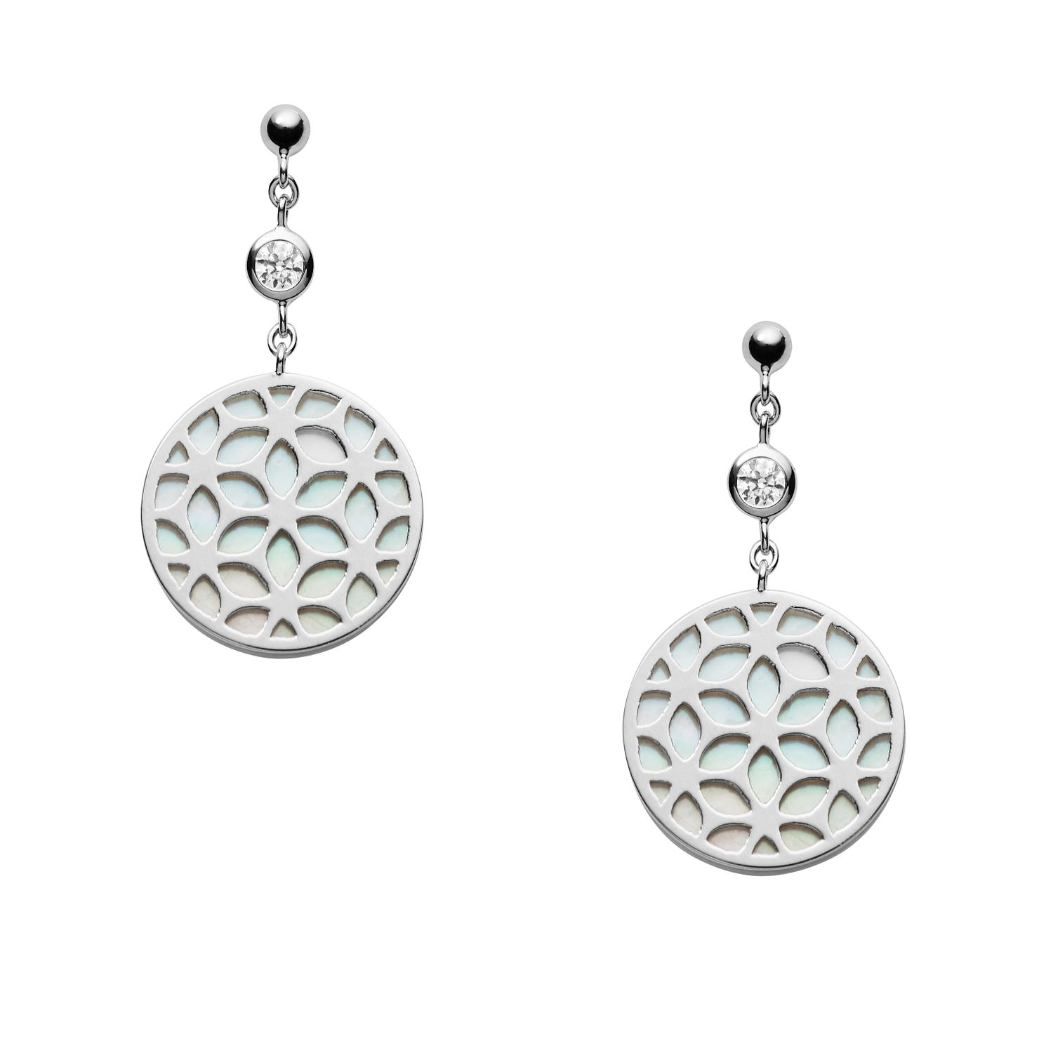 Fossil Floral Ladies' Sterling Silver Drop Earrings - Product number 2358778