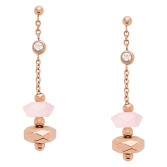 Fossil Classics Rose Gold Tone Rose Quartz Drop Earrings - Product number 2358824