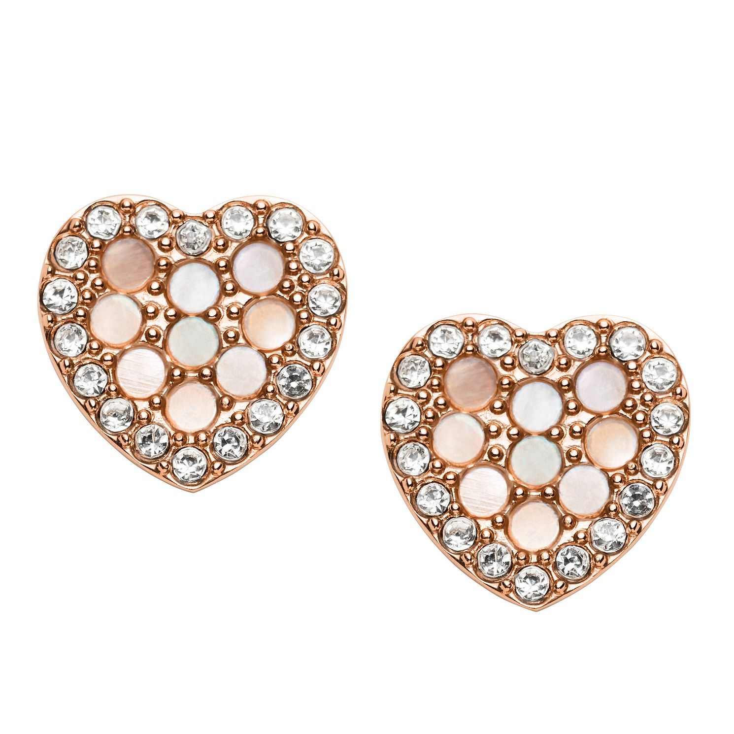 Fossil Rose Gold Tone Cubic Zirconia Glitz Heart Earrings - Product number 2358859