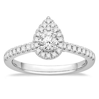 18ct White Gold 1/2ct Diamond Pear Halo Ring - Product number 2358956