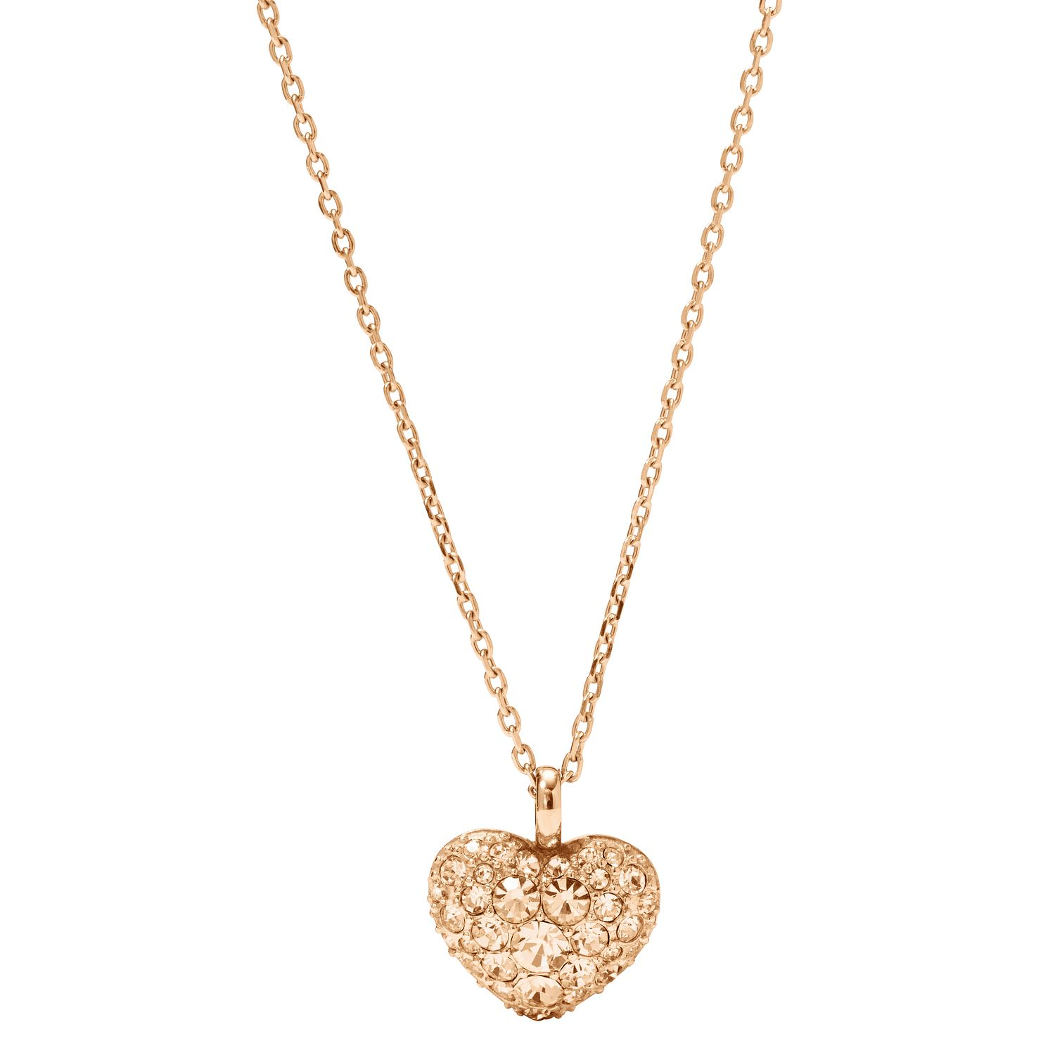 Fossil Rose Gold-Tone Pave Heart Necklace - Product number 2363267